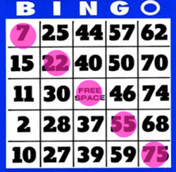 75 balls bingo win diagonally