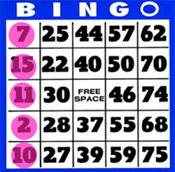 75 balls bingo win vertically